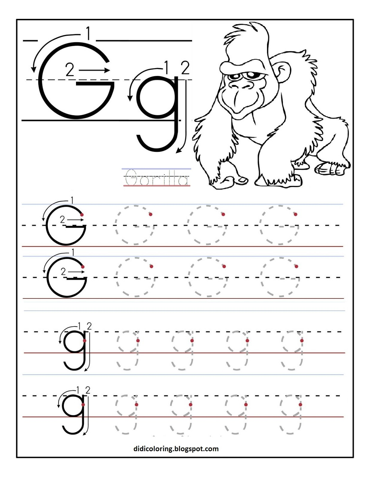 free printable worksheet letter g for your child to learn and