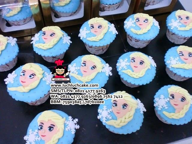Cupcake Frozen Elsa 2D Souvenir Ulang Tahun Daerah Surabaya - Sidoarjo