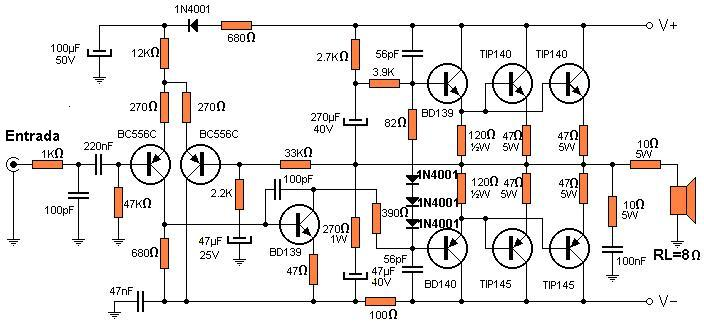 Circuito Amplificador De Audio : Amplificadores de audio amplificador transistorizado w