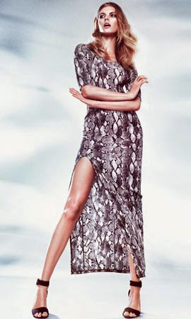 vestido largo estampado serpiente H&M