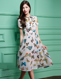 Short Sleeve Colorful Butterfly Prints Flare Chiffon Dress