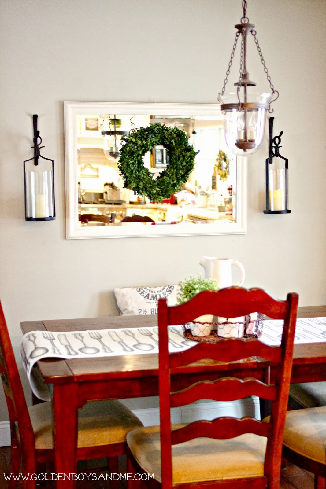 Pottery Barn artisinal lantern candle holders and preserved boxwood wreath | www.goldenboysandme.com