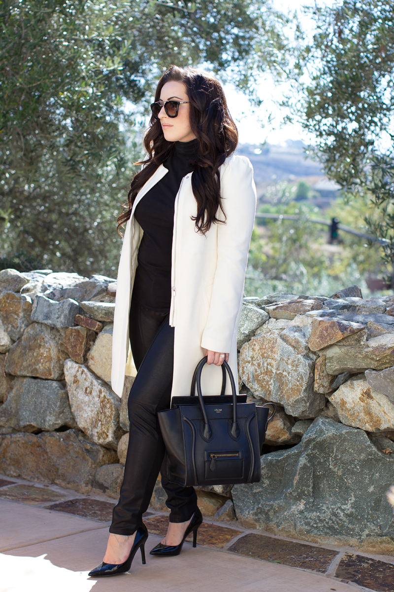 banana republic faux leather pants, black and white outfit ideas