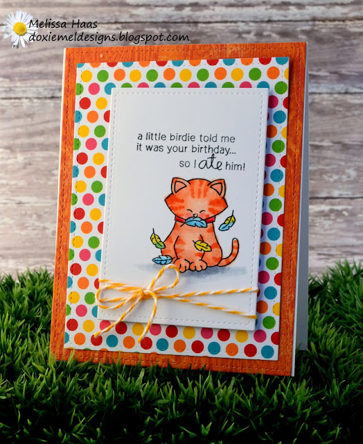 Kitty Birthday Card by Melissa Haas | Newton's Birthday Flutter stamp set by Newton's Nook Designs