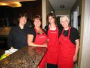 Myself, Vicki and Danielle Frankland, and Naomi Morely Ready to Serve in Linda Irwin's Lovely Home