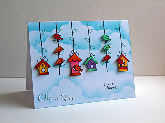 You're Tweet Birdhouse card by Chitra Nair for Newton's Nook Designs | Tweet Talk Stamp Set