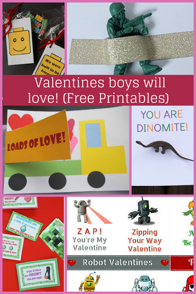 Free printabes for Valentines that boys will love!
