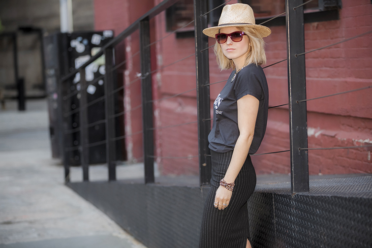 Wide brim straw hat, Brooklyn NY, high waisted pinstripe skirt
