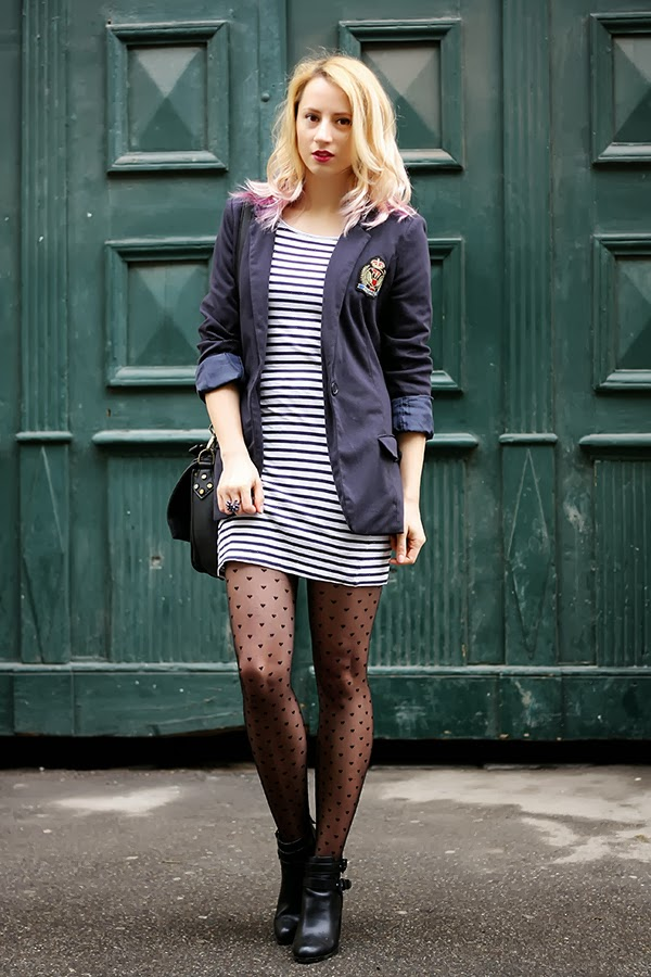 college blazer stripped dress hearts tights cut out boots