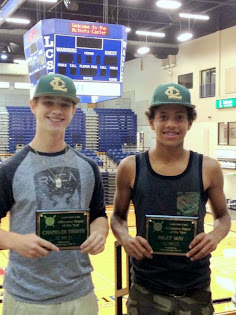 Cubs Winners: Defensive Player of the year Riley Way and Offensive Player of the year Chandler Tibb
