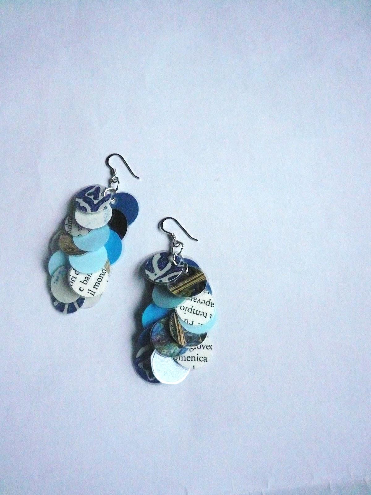Manufacta paper jewelry orecchini pendenti da ritagli di - Porta orecchini a libro ...