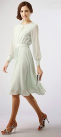 Long Sleeve Pale Green Gray Chiffon Dress