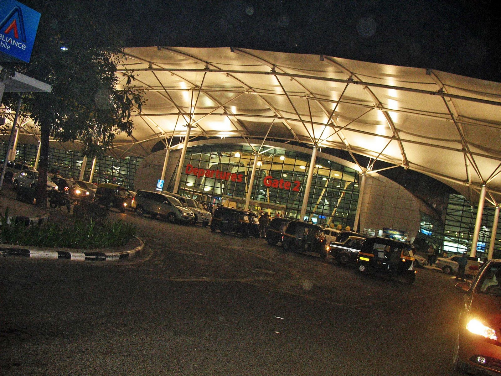 Airport at night inside