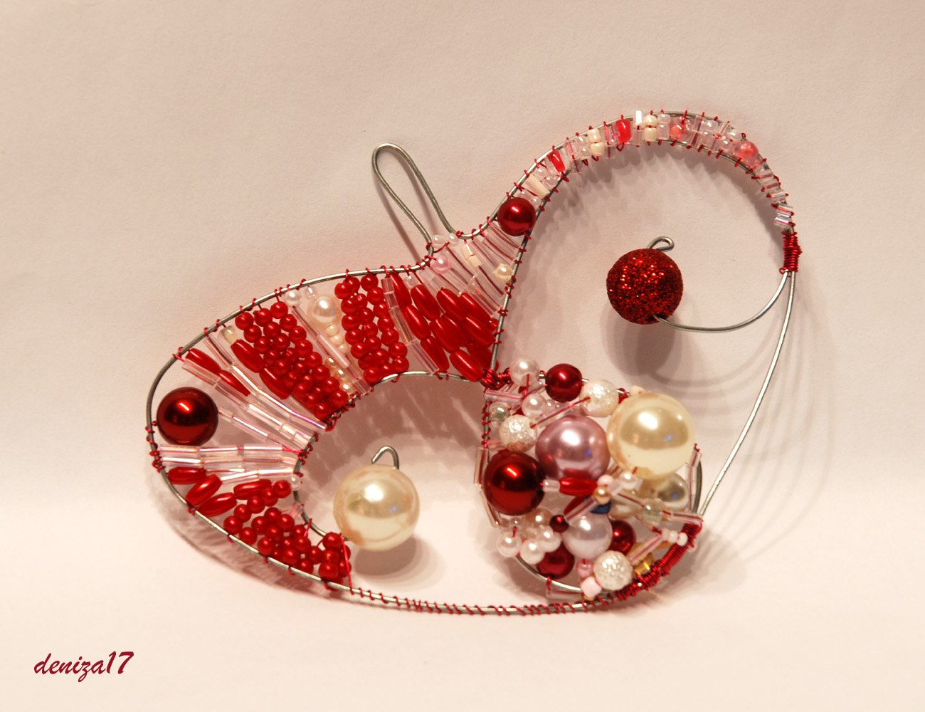 sweet heart for valentine: beaded heart