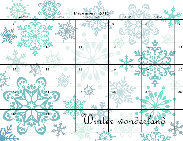 December 2013 one-page calendar featuring blue snowflakes made with MDS.