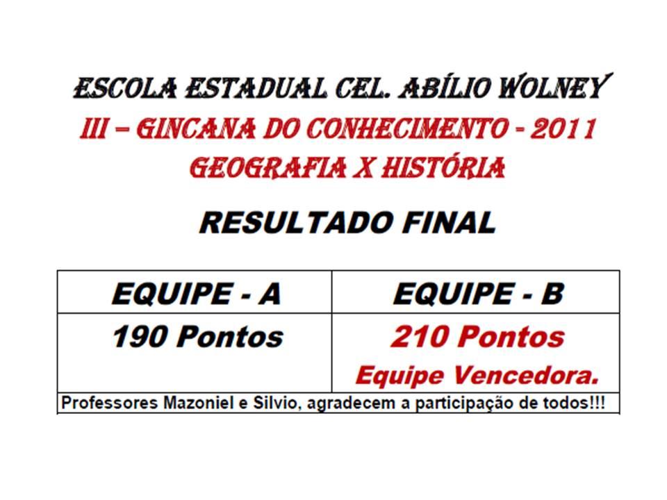 RESULTADO DA  III - GINCANA DO CONHECIMENTO - 2011