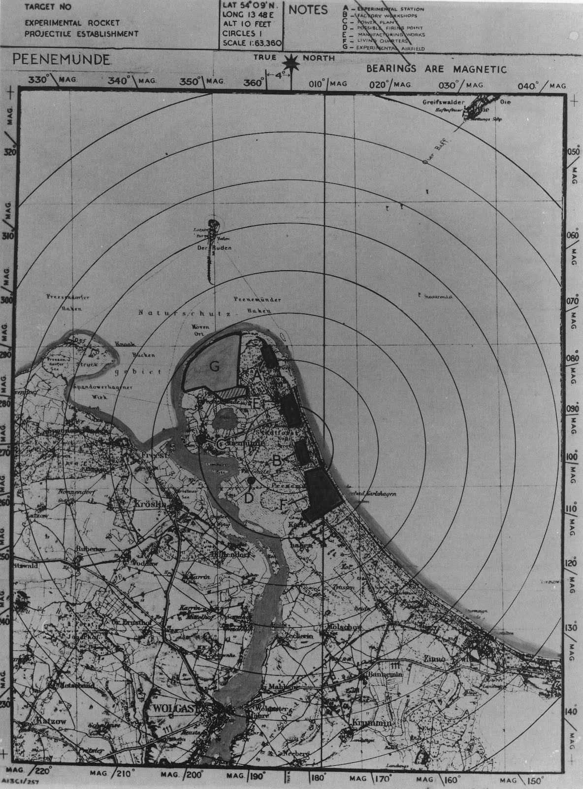 targed map of what british air inelligence termed the experimental rocket projectile establishment located at peenemuende ordway collection space rocket