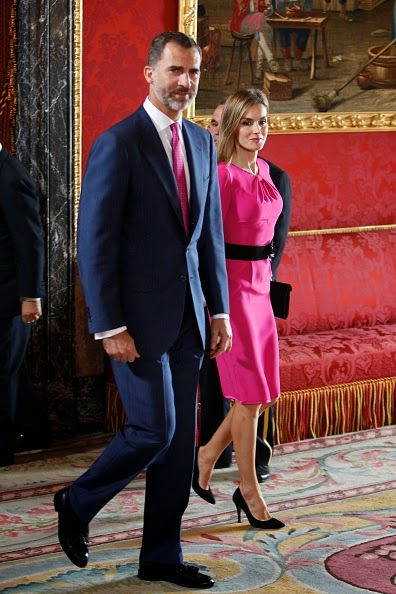 King Felipe VI of Spain and Queen Letizia of Spain receive President of Honduras Juan Orlando Hernandez Alvarado and wife Ana Rosalinda Garcia at the Royal Palace on 01.10.2014 in Madrid, Spain.