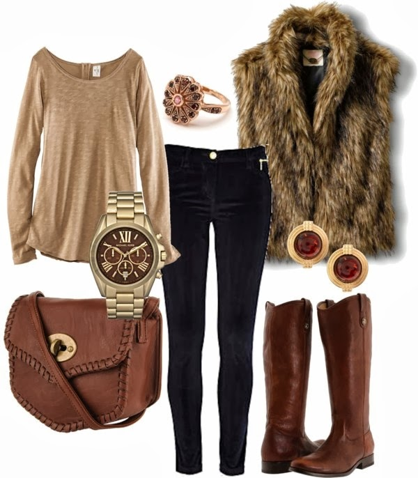 Hairy jacket, blouse, pants, brown hand bag and long boots for fall