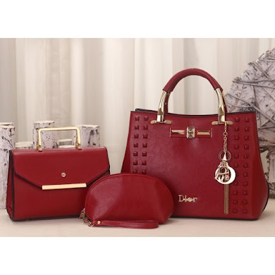 DIOR DESIGNER BAG (3 IN 1 SET) - MAROON