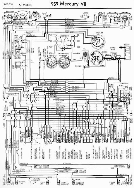 Wiring Diagram For Car  1959 Mercury V8 All Models Wiring