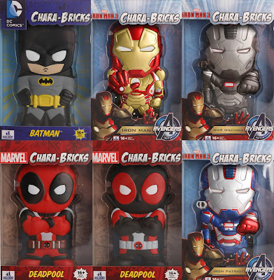 San Diego Comic-Con 2013 Exclusive Chara-Brick Vinyl Figures by Huckleberry - Batman (Black), Iron Man, War Machine, Deadpool (Red), Deadpool (Black) & Iron Patriot