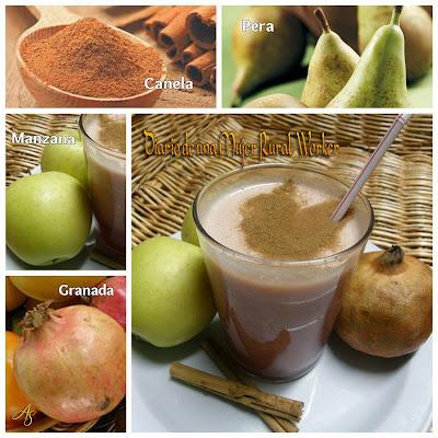 Jugo de manzana pera y granada