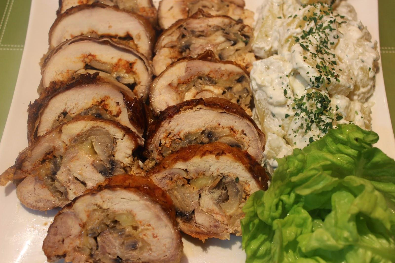 Rolovano pilece meso sa sampinjonima
