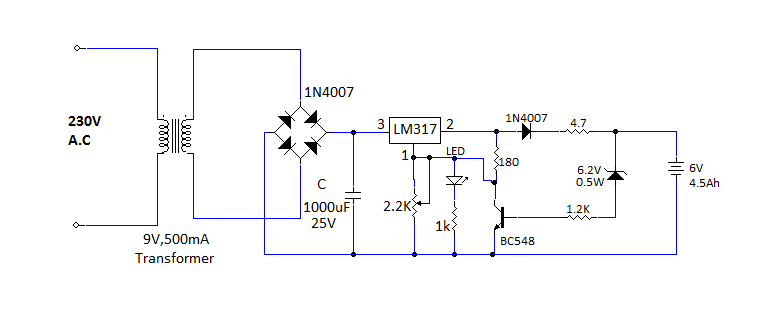 lm317 based battery charger overcharge protection circuit circuit diagram simple circuit
