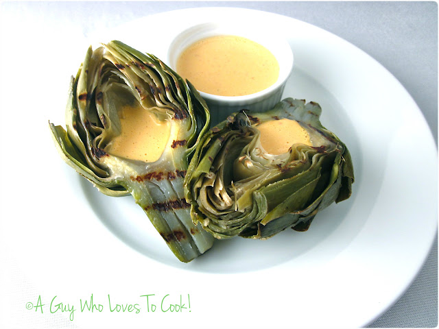 Roasted Artichokes with Red Pepper Aioli