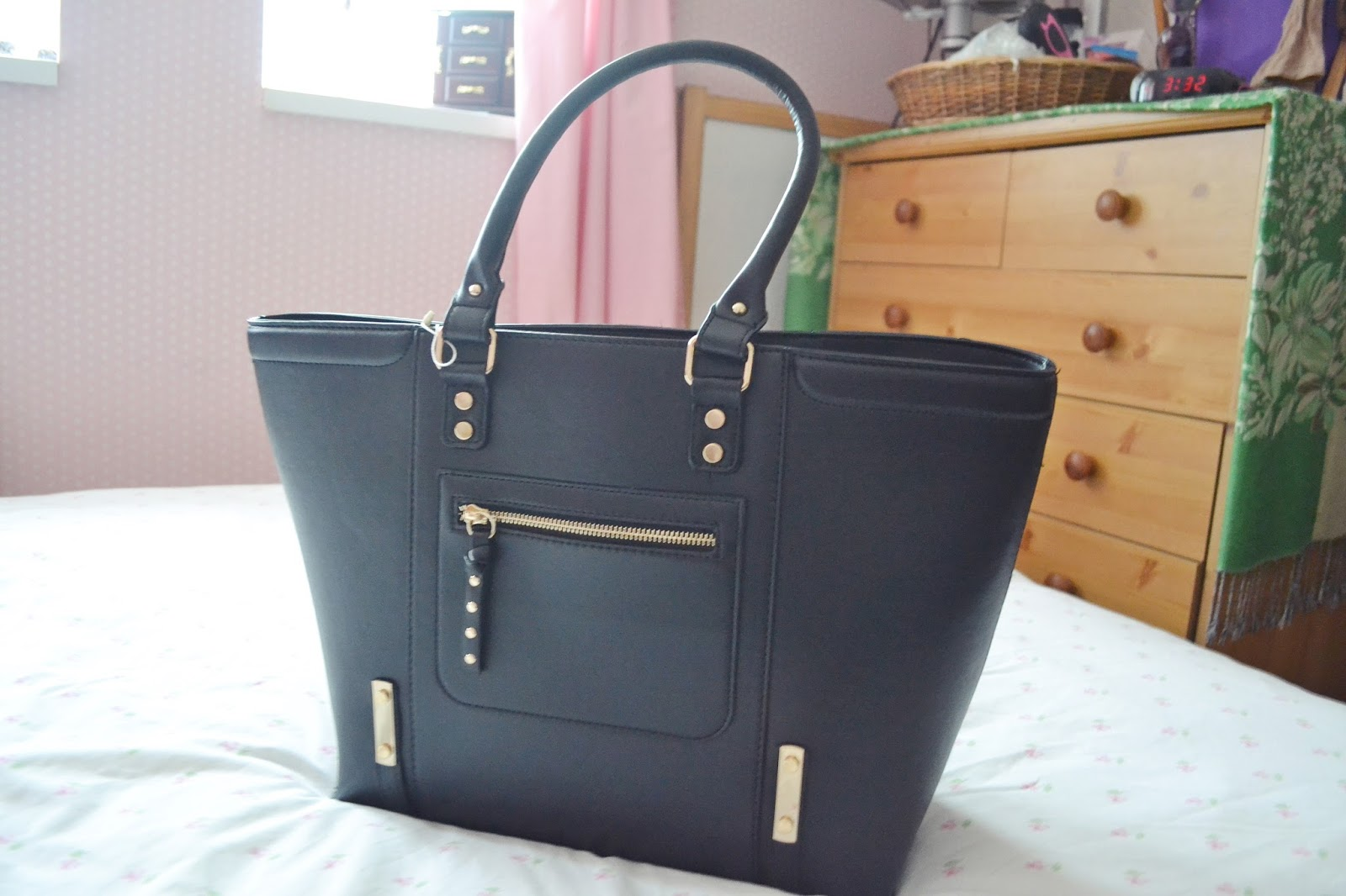 new look black tote handbag