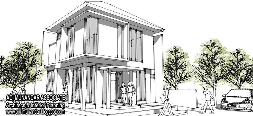sketsa arsitektur rumah