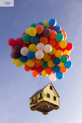 la casa de la pelicula up en la vida real con globos reales