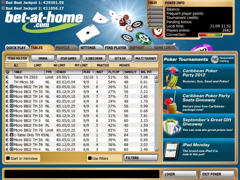 Bet-at-home Poker Games Screen