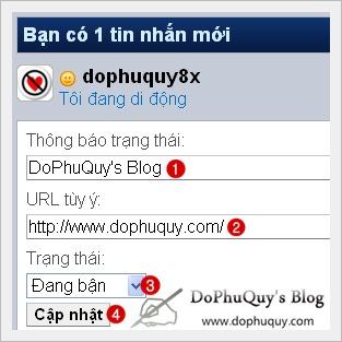 Chèn URL vào Status Yahoo Mobile