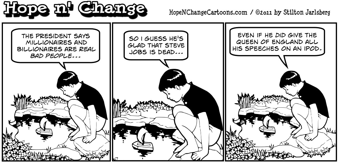 The death of Apple's Steve Jobs has to be good news to the millionaire-hating Barack Obama, hopenchange, hope and change, hope n' change, stilton jarlsberg, political cartoon, tea party
