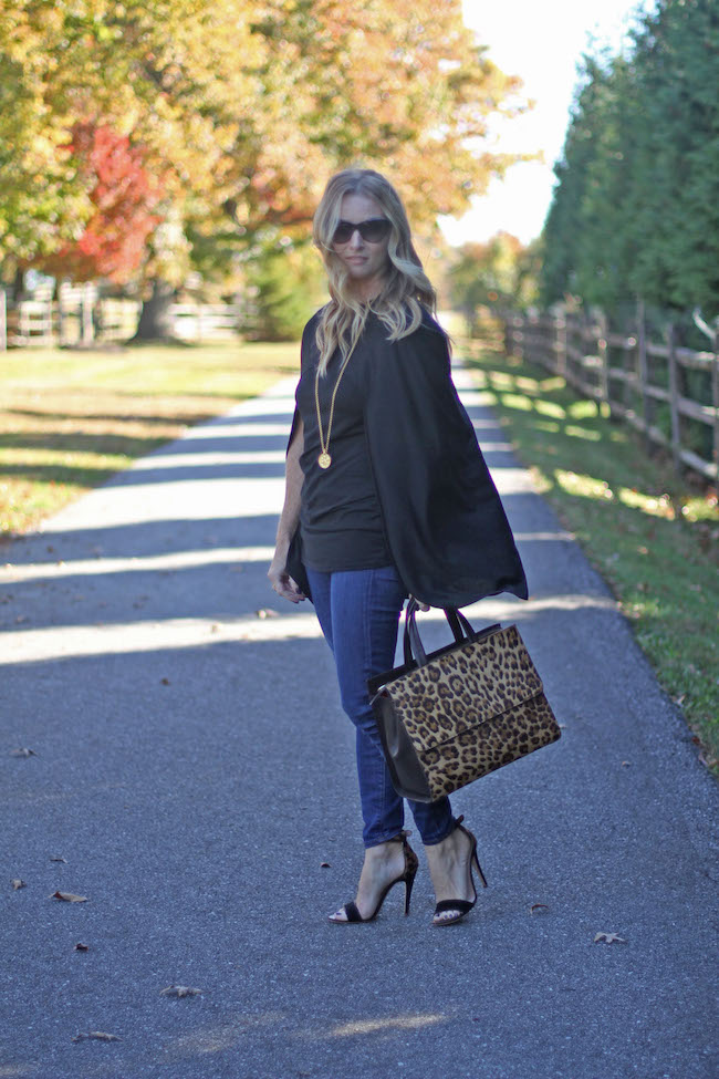 shein cape, jcrew jeans, club monaco heels, boden bag, coin necklace