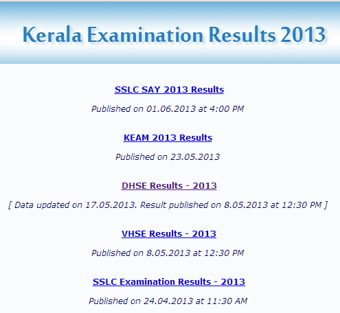Kerala plus one Results 2013