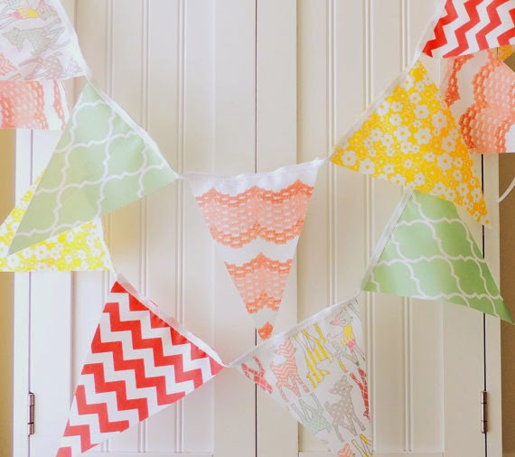 Woodland Banner, Bunting Fabric Flags, Deer, Fawn, Peach, Mint, Yellow, Coral, Baby Nursery Decor, Girl Birthday Party, Photo Prop, Pretty
