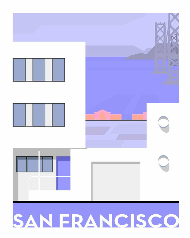 forgotten modernism, michael murphy,san francisco,illustration,ilustraciones, US, united States, Estados Unidos,pink,green,blue, pastel colors, rosa,verde,azul,mar,sea,building, air plane,avion,edificio,arquitectura,purple