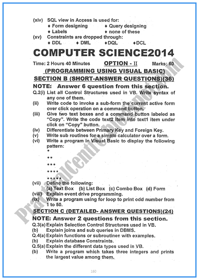 Computer-science-2014-Five-year-paper-class-XII