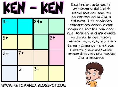 Soduku, Ken-ken, Ken ken, Kenko, Kendoku, Mathdoku, Calcudoku