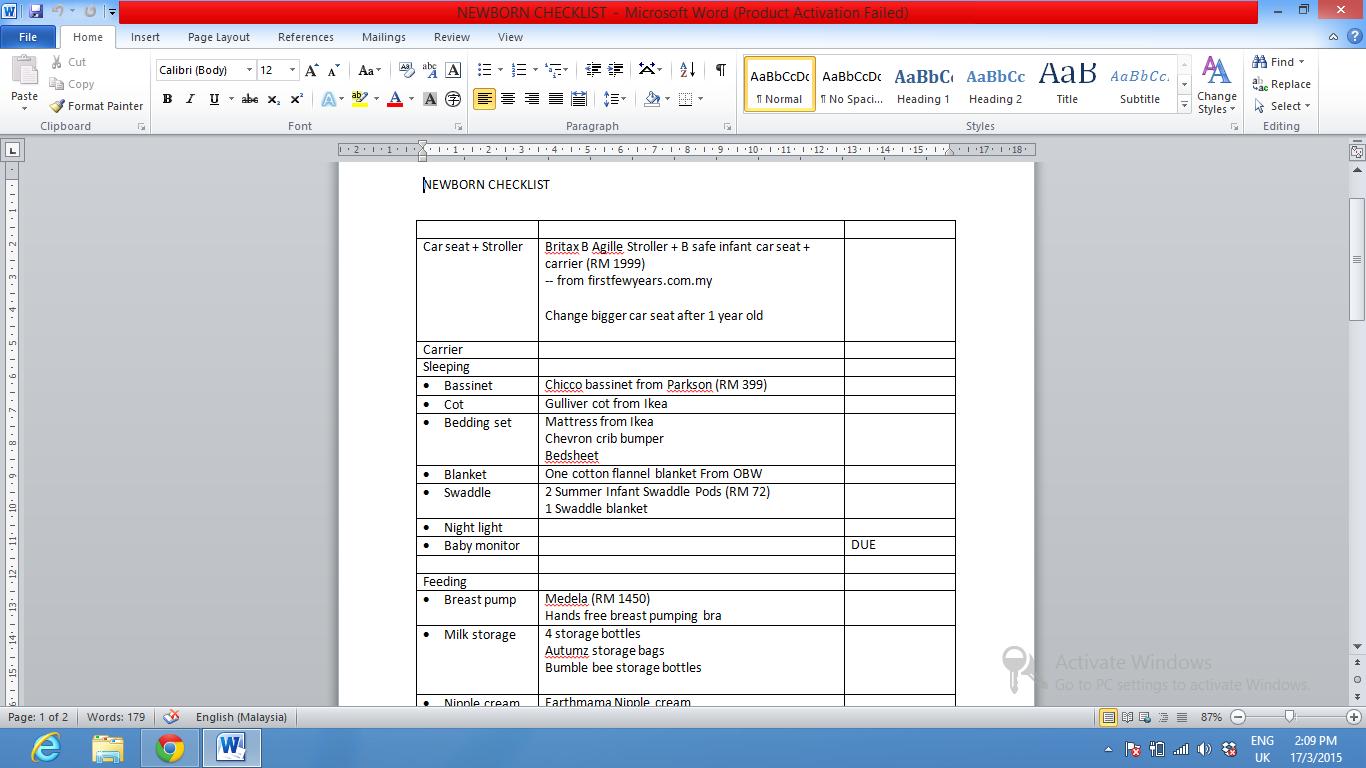my newborn checklist the world according to hen