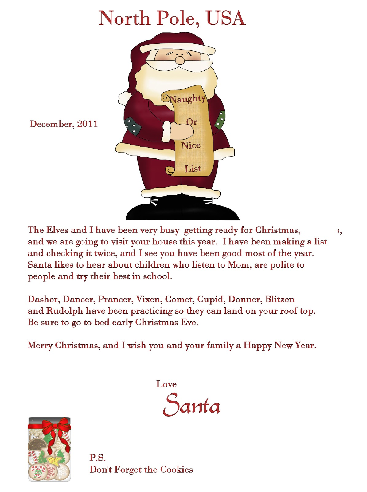 Patty wraps santa letter for Generic letter from santa