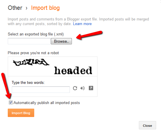 upload donwloaded blogger template which contain posts images and comments