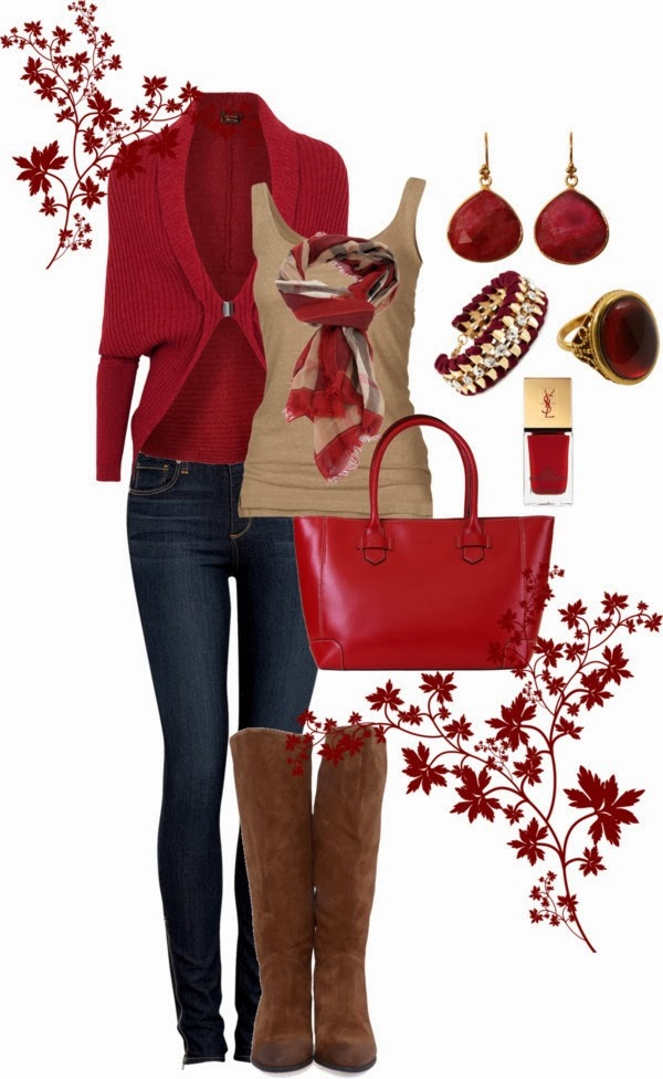 Adorable Cardigan with Dark Blue Jeans and Blouse,Scarf, Long Boots and Leather Handbag with Accessories - Red Winter Outfit