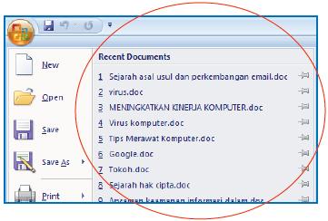 Daftar recent dokumen untuk membuka kembali dokumen yang pernah dibuka.