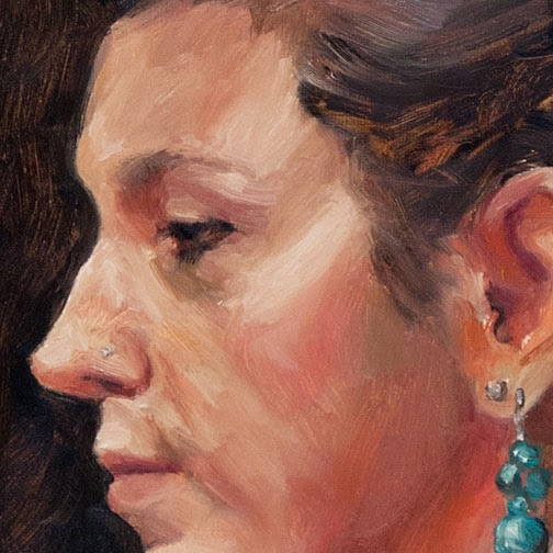 direct painting portrait sketch in oils from life, Shannon Reynolds