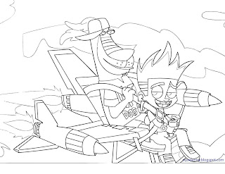 Johnny Test coloring pages rocket